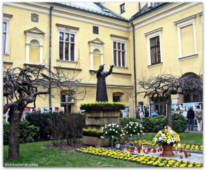 The courtyard of the Bishop's Palace...A monument to John Paul II, the work of Joel Sense Croc ...