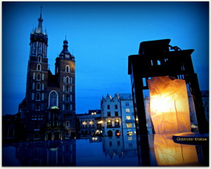 Good night from Cracow... sweet dreams... Dobranoc z Krakowa....kolorowych snów... view from Cafe Szał towards Mariacki Church... widok z kawiarni Szał na Kościół Mariacki