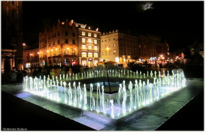 Good night from Cracow... sweet dreams... Dobranoc z Krakowa...kolorowych snów... fountain on Market Square... fontanna na Rynku...